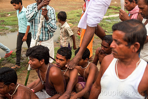 hindu festival - walking on men's shoulders (india), hinduism, india, men, ritual, sitting, walking