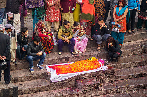 hindu funeral - family around corpse of the dead in shroud on ghat (nepal), cadaver, crowd, festival, ghats, hinduism, kathmandu, lying, lying in wake, maha shivaratri, pashupati, pashupatinath, people, steps