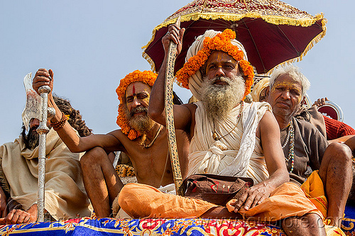 hindu guru with ritual sword - kumbh mela (india), beard, float, gurus, hindu, hinduism, kumba mela, kumbh maha snan, kumbha mela, maha kumbh mela, mauni amavasya, men, parade, umbrella