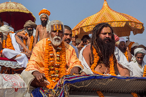 hindu gurus on their floats - kumbh mela (india), float, gurus, hindu, hinduism, kumbh maha snan, kumbha mela, maha kumbh mela, mauni amavasya, men, parade, procession, umbrella