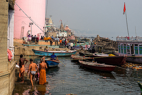 hindu holy bath in ganga river - ghats of varanasi (india), ganga, ganges river, ghats, hindu, hinduism, holy bath, holy dip, india, mooring, nadi bath, pink tower, river bathing, river boats, varanasi, water tower