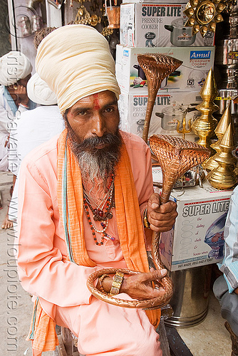 hindu holy man shopping for a cobra sculpture for his temple - udaipur (india), baba, beard, brass, cobra, guru, hindu holy man, hinduism, holding, priest, sadhu, sculpture, shop, snake