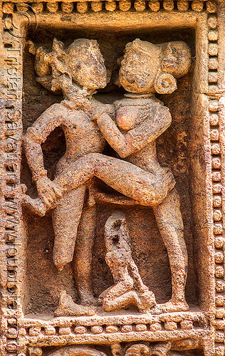 hindu maithuna erotic carving - konark sun temple (india), erotic sculptures, high-relief, hindu temple, hinduism, stone