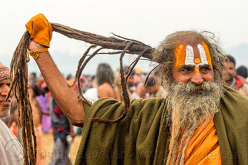 hindu man with large tilaka and long dreadlocks - kumbh mela 2013 (india), beard dreadlocks, hindu pilgrimage, hinduism, india, maha kumbh mela, man, tilak, white beard