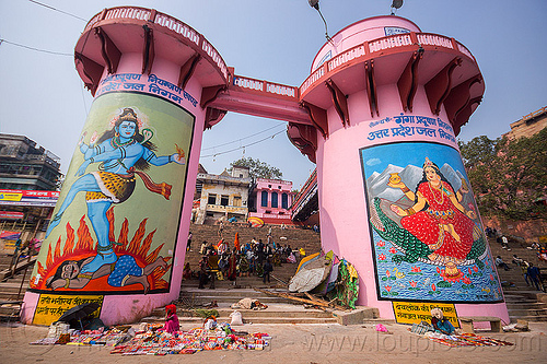 hindu murals on pink water towers at the dasaswamedh ghat - varanasi (india), dasaswamedh ghat, deities, ghats, gods, infrastructure, lakshimi, murals, paintings, pink towers, shiva, varanasi, water towers