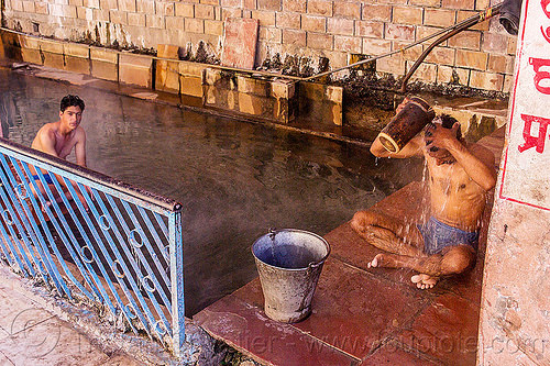 hindu pilgrims bathing at the surya kund pool - yamunotri sacred hot springs (india), bath, bathing, hot springs, men, metal bucket, pool, pucket, shower, showering, sitting, surya kund, water, yamunotri