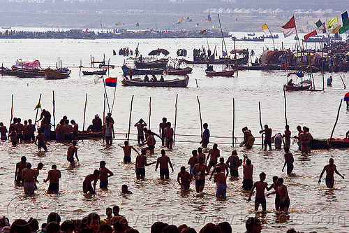 hindu pilgrims bathing in ganges river at sangam on paush purnima day - kumbh mela 2013 (india), backlight, crowd, dawn, fence, ganga river, ganges river, hindu, hinduism, holy bath, holy dip, kumbha mela, maha kumbh mela, paush purnima, pilgrims, ritual bath, river bath, river bathing, river boats, silhouettes, triveni sangam, water, yatris