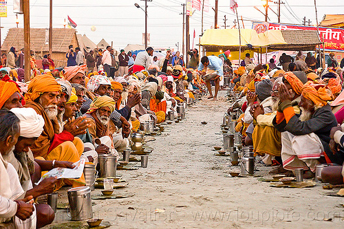 hindu pilgrims eating holy prasad - kumbh mela 2013 (india), ashram, crowd, dinner, eating, food, hindu pilgrimage, hinduism, holy prasad, india, maha kumbh mela, men, pilgrims, rows, sitting