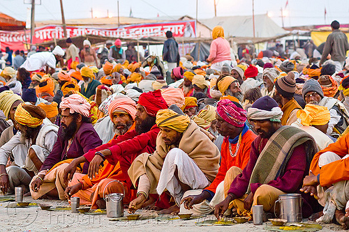 hindu pilgrims eating holy prasad - kumbh mela 2013 (india), ashram, crowd, dinner, food, hinduism, kumbha mela, maha kumbh, maha kumbh mela, men, people, rows, sitting, yatris