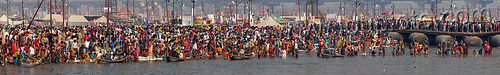 hindu pilgrims having ritual bath in ganges river - kumbh mela (india), crowd, floating bridge, ganga river, ganges river, hindu, hinduism, holy bath, holy dip, infrastructure, kumbh maha snan, kumbha mela, maha kumbh mela, mauni amavasya, metal tanks, panorama, pontoon bridge, river bath, river bathing, water