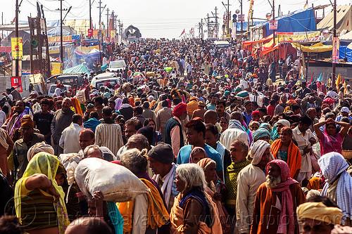 hindu pilgrims on crowded street (india), crowd, kumbh maha snan, kumbha mela, maha kumbh mela, mauni amavasya, street