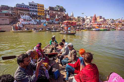 hindu pilgrims on river boat - ghats of varanasi (india), ganga, ganges river, hindu, hinduism, india, pilgrims, river boat, rowing boat, small boat, varanasi