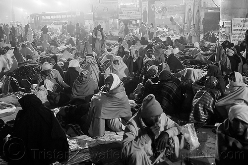hindu pilgrims sitting on the street at kumbh mela (india), camping, crowd, hindu, hinduism, kumbh maha snan, kumbha mela, maha kumbh mela, mauni amavasya, night, seeting, street, triveni sangam, walking