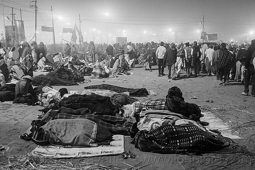 hindu pilgrims sleeping in the street at kumbh mela (india), camping, crowd, hindu pilgrimage, hinduism, india, kumbh maha snan, maha kumbh mela, mauni amavasya, night, sleeping, triveni sangam, walking