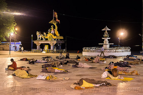 hindu pilgrims sleeping on rishikesh triveni ghat (india), blankets, crowd, ghats, india, men, night, rishikesh, sleeping, triveni ghat