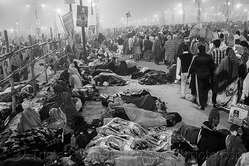 hindu pilgrims sleeping on the street at kumbh mela (india), camping, crowd, hindu pilgrimage, hinduism, india, kumbh maha snan, maha kumbh mela, mauni amavasya, night, sleeping, triveni sangam, walking