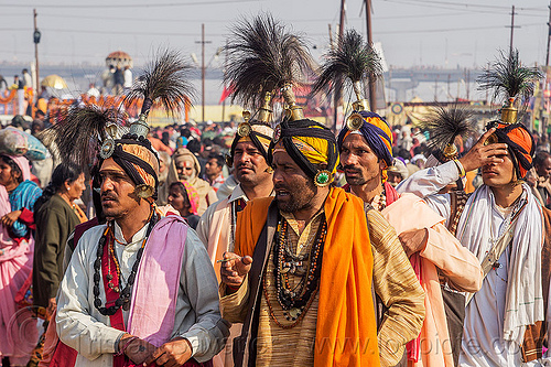 hindu priests with ceremonial headdress - kumbh mela (india), crowd, float, gurus, headdress, hindu pilgrimage, hinduism, india, kumbh maha snan, maha kumbh mela, mauni amavasya, parade, turban