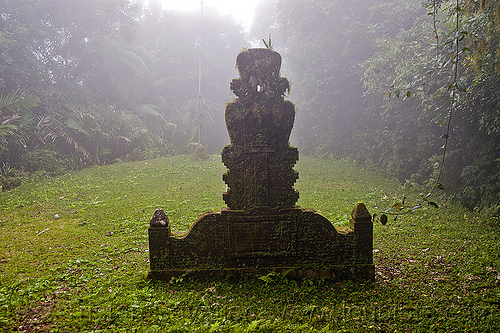 hindu shrine in the fog, bali, carved, clearing, fog, foggy, forest, hindu shrine, pura lempuyang, rainforest, stone, temple