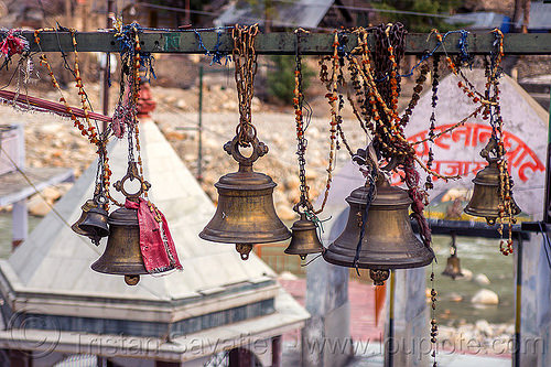 hindu temple bells in gangotri (india), bells, bhagirathi valley, brass, gangotri, ghagirathi river, hanging, hinduism, temple, water