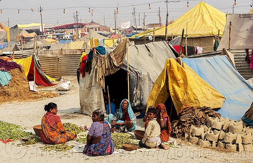 hindu women at their camp - kumbh mela 2013 (india), camp, encampment, hindu pilgrimage, hinduism, india, maha kumbh mela, pilgrims, sitting, street seller, tents, walking, women