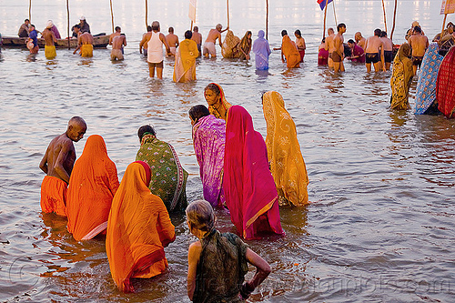 hindu women bathing in the ganges river - kumbh mela 2013 (india), dawn, ganga, ganges river, hindu pilgrimage, hinduism, holy bath, holy dip, india, maha kumbh mela, men, paush purnima, pilgrims, ritual bath, river bathing, saree, triveni sangam, women
