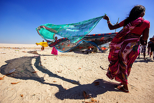 hindu women drying saris in the wind after holy dip - varanasi (india), beach, drying, india, river bank, sand, saree, sari, varanasi, wind, woman