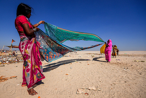 hindu women drying saris in the wind - varanasi (india), beach, drying, india, river bank, sand, saree, sari, varanasi, wind, women
