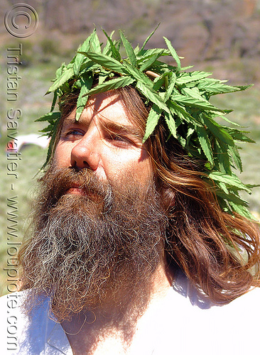 hippy-jesus - rainbow gathering - hippie, cannabis, hemp, hippie, jesus christ, leaves, man, marihuana, marijuana, pot, rainbow family, rainbow gathering, religion