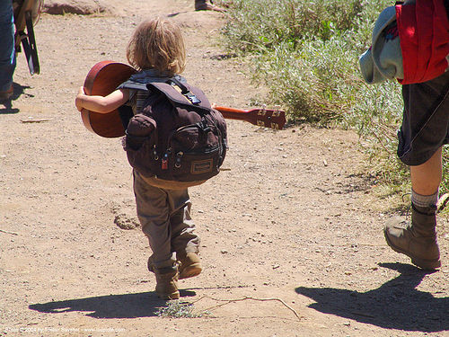 hippy-kid-with-ukulele - rainbow gathering - hippie, backpack, boy, child, guitar, hippie, kid, ukulele