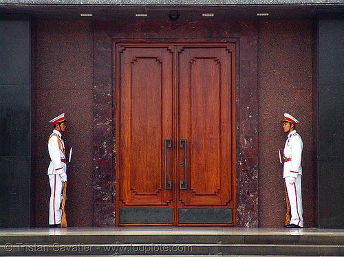 ho chi minh mausoleum - honor guard - vietnam, closed, communism, door, dress uniform, gate, guards, guns, hanoi, ho chi minh mausoleum, honor guard, monument, rifles, tomb, two, white uniforms