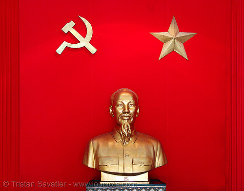 ho chi minh monument - vietnam, army museum, bust, communism, golden color, hammer and sickle, hanoi, ho chi minh, monument, red, sculpture, star, statue, vietnam