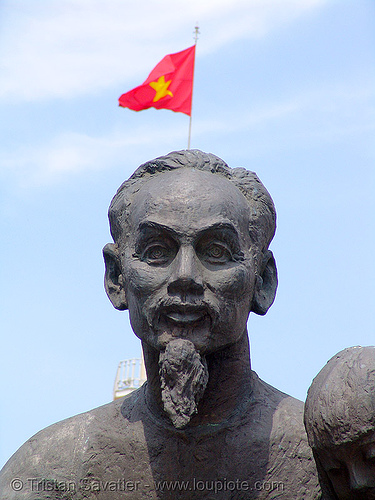 ho chi minh statue - red flag - vietnam, ho chi minh city, red flag, saigon, sculpture, statue, vietnam flag
