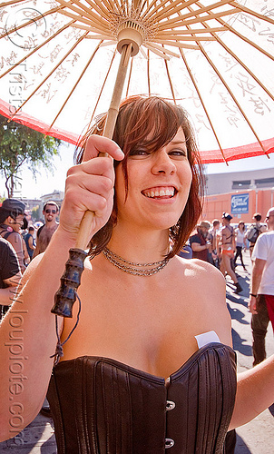 holly - japanese umbrella, folsom street fair, holly, japanese umbrella, woman