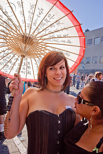 holly with japanese umbrella, folsom street fair, holly, japanese umbrella, woman