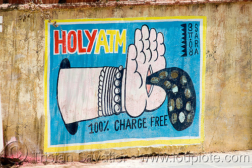 holy ATM - mural by local artist SARA - udaipur (india), arm, coins, graffiti, hand, stigmata, street art