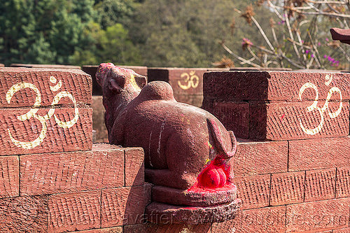 holy bull balls - hinduism (nepal), brick, dye, hindu shrine, nandi, nandi bull, om, red, sculpture