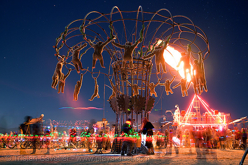 homouroboros - burning man 2007, art installation, burning man, fire, monkey, night, strobe monkeys