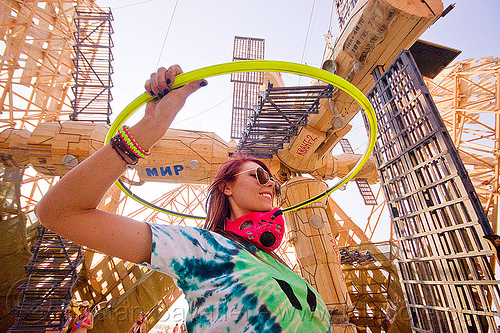 hooper at MIR space station - burning man 2013, art installation, burning man, hooper, hooping, hulahoop, mackenzie, mir space station, russian, sunglasses, woman, мир орбитальная станция