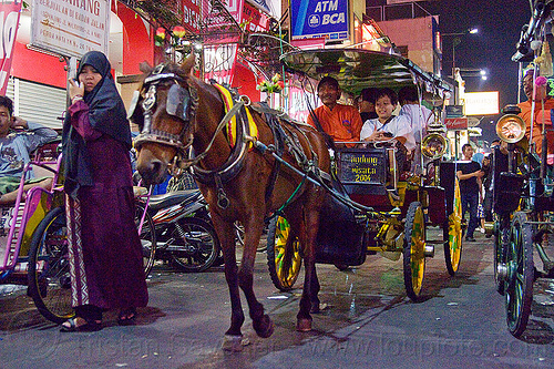 horse carriage at night on malioboro street - yogyakarta (indonesia), bridle, carriages, draft horse, draught horse, horse carriages, horses, java, jogja, jogjakarta, people