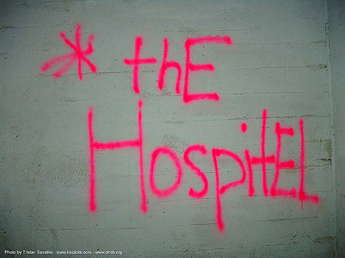 the-hospitel - pink tag - abandoned hospital (presidio, san francisco) - phsh, abandoned building, abandoned hospital, graffiti, neon color, presidio hospital, presidio landmark apartments, trespassing