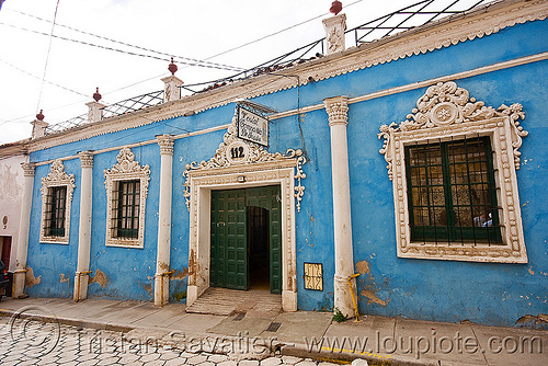 hostal compania de jesus - colonial house - potosi (bolivia), 112, blue, colonial architecture, compania de jesus, compañía de jesús, hostel, house, potosí, street