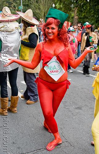 hot sauce - tabasco brand costume, bay to breakers, body art, body paint, body painting, chili sauce, farran, footrace, hot sauce, red, street party, tabasco brand, tabasco costume, woman