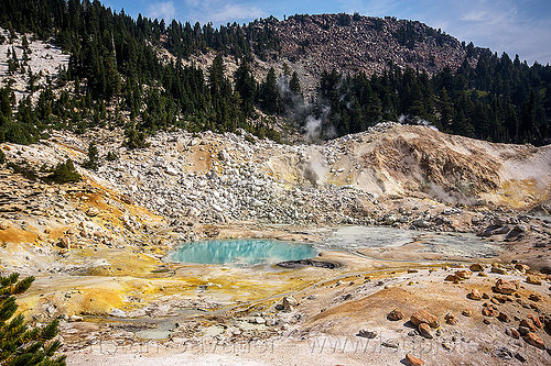 hot springs - bumpass hell - lassen volcanic national park, fumaroles, geothermal, mountain, pool, water