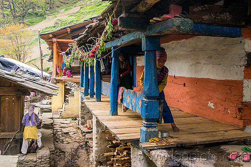 house in himalayan village (india), blue, boy, child, house, janki chatti, kid, painted, village, woman