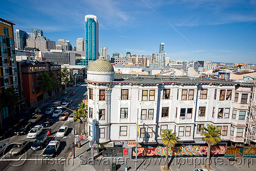 howard st and 6th st (san francisco), building, cars, city, cityscape, skyline