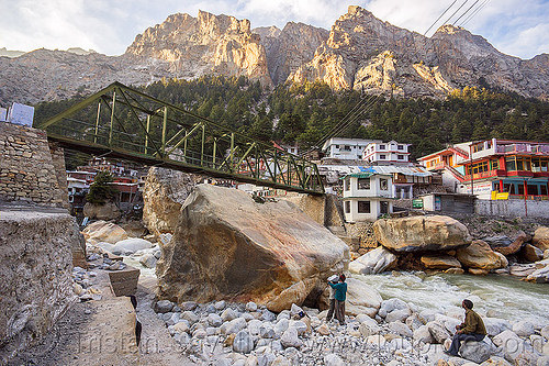 huge boulders in bhagirathi river - gangotri (india), bhagirathi river, bhagirathi valley, boulders, bridge, gangotri, men, mountains, river bed, rock, stone, truss, water
