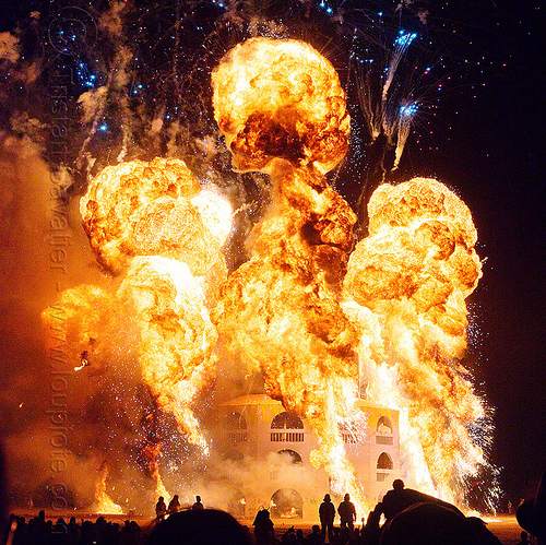 huge gas explosion - the man burns - burning man 2012, backlight, bleve, burning man, environment, fire ball, fire mushroom, gasoline explosion, natural gas, night of the burn, petrol explosion, propane, pyrotechnics, silhouettes, the man