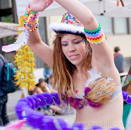 hula hooper with feather bra, beads, bracelets, carnival bra, clothing, fashion, feather bra, fuzzy hulahoop, hooper, how weird festival, kandi kid, kandi raver, melanie, plur, purple, woman