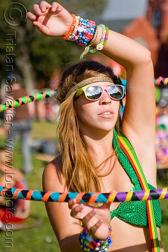 hula hooper - woman, beads, bracelets, dolores park, hula hoop, hula hooper, hula hooping, kandi kid, kandi raver, sunglasses, woman