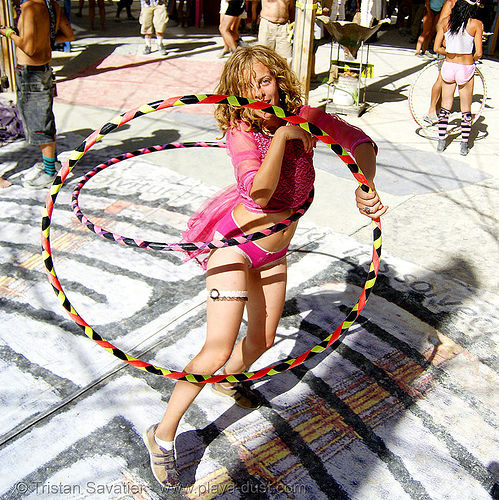 hula hoops - burning man 2007, center camp, people, woman
